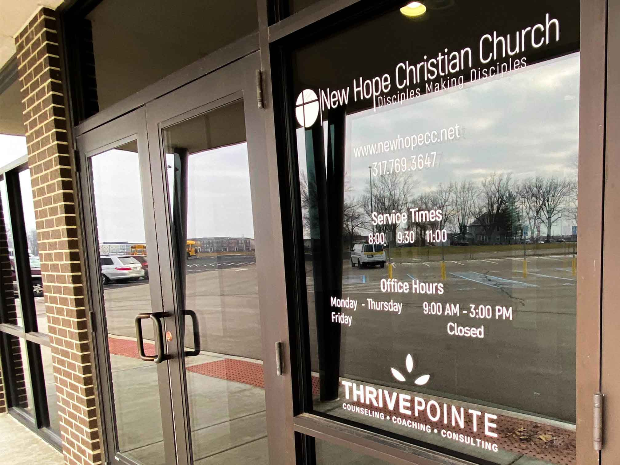 Front door of New Hope Christian Church for the offices of counseling with a ThrivePointe therapist at New Hope Christian Church. ThrivePointe Whitestown, IN 46075