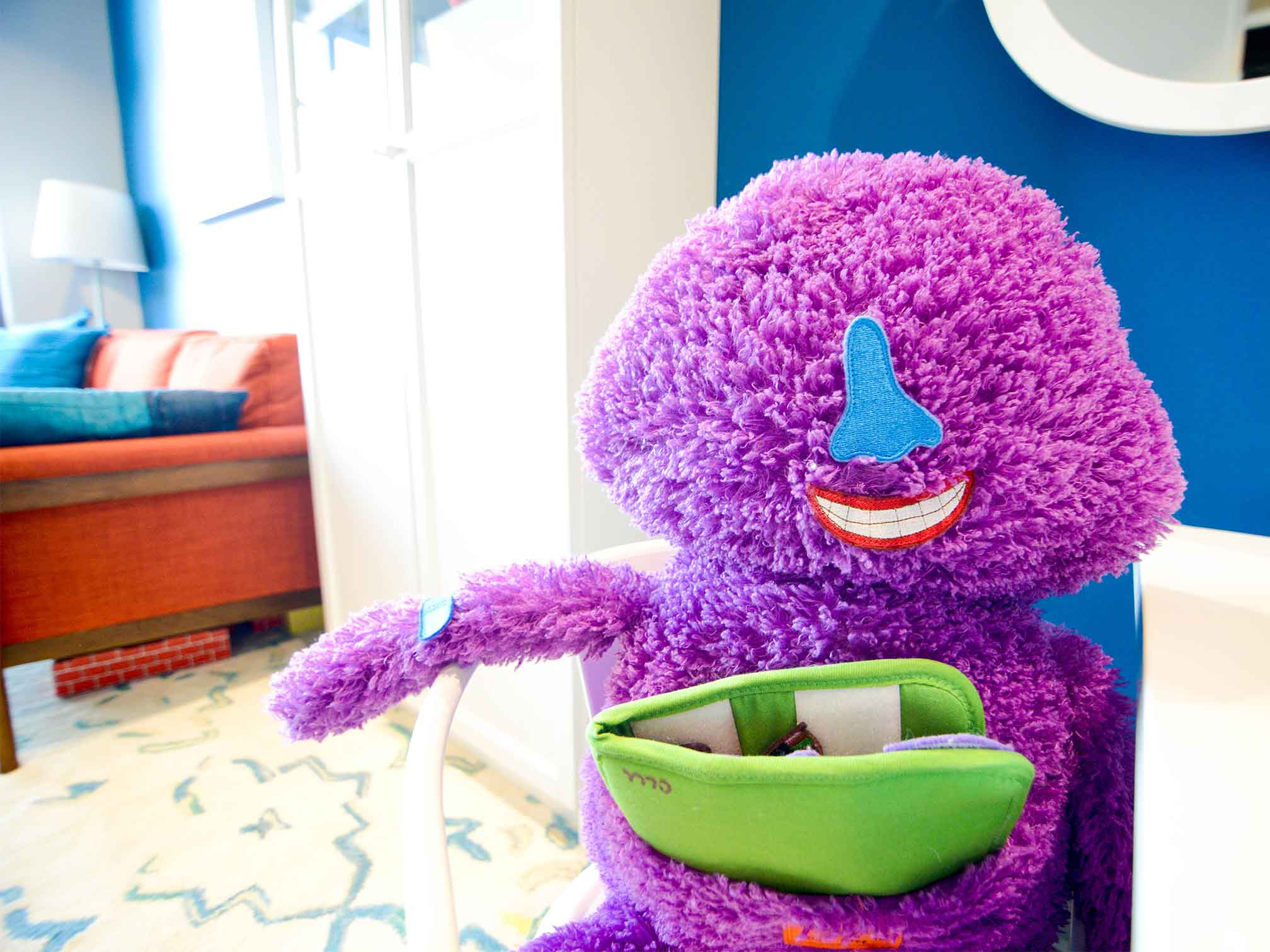 Fuzzy purple face monster with different parts to use for emotional communication for child counseling and therapy. Your child can get help in play therapy in Ohio and Indiana for child counseling with ThrivePointe child therapists
