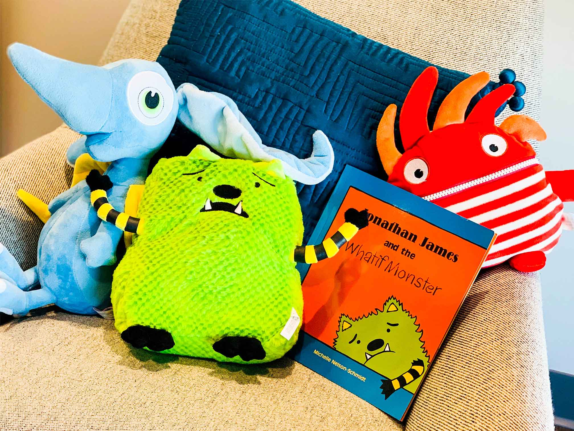 "Various stuffed animals including the ""What If Monster"" to use for emotional communication for child counseling and therapy. Your child can get help in play therapy in Ohio and Indiana for child counseling with ThrivePointe child therapists"